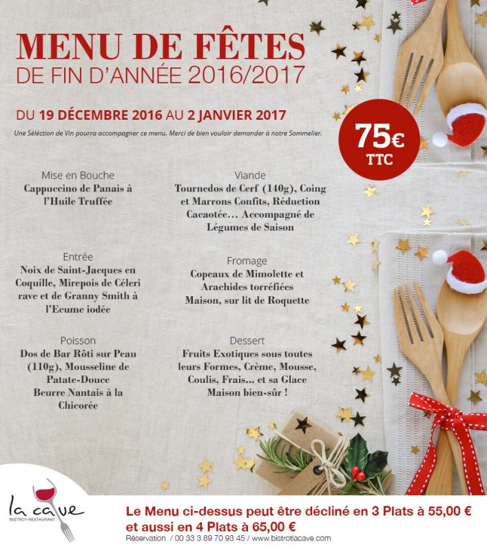 Menu du Restaurant La Cave Saint Loui