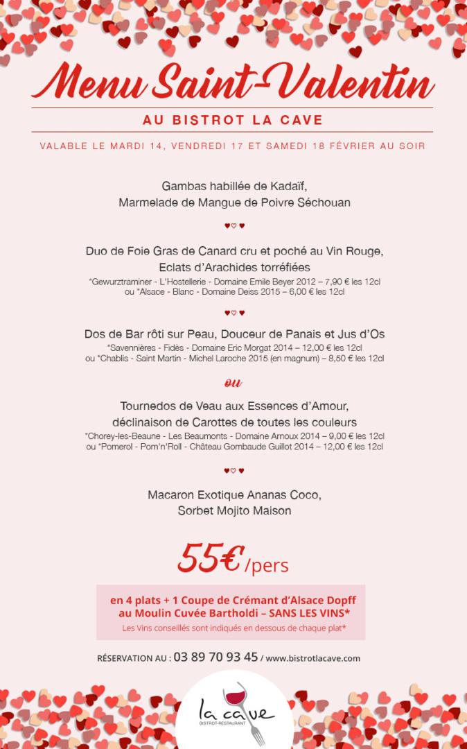 menu saint valentin restaurant bale