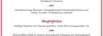 Menü für 27 Euro (inkl. MwSt.)